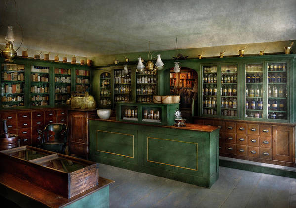 Apothecary Poster featuring the photograph Pharmacy - The Chemist Shop by Mike Savad