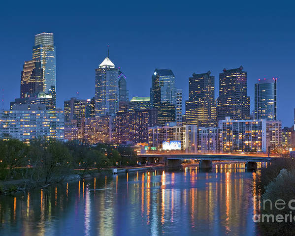 Phila. Pa Poster featuring the photograph Phila Pa Night Skyline Reflections Center City Schuylkill River by David Zanzinger