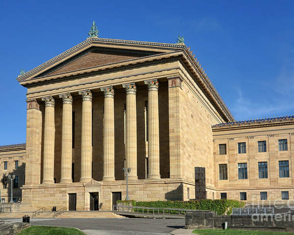 Phila Poster featuring the photograph Philadelphia Museum Of Art Rear Facade by Olivier Le Queinec