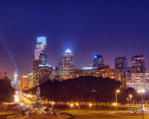 Philadelphia Poster featuring the photograph Philadelphia Nightscape by Olivier Le Queinec
