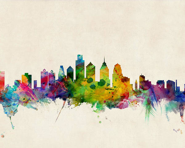 Watercolour Poster featuring the digital art Philadelphia Skyline by Michael Tompsett