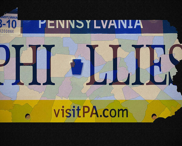 Phillies License Plate Map Poster featuring the photograph Phillies License Plate Map by Bill Cannon