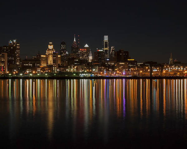 Philadelphia Poster featuring the photograph Philly Night by Jennifer Ancker