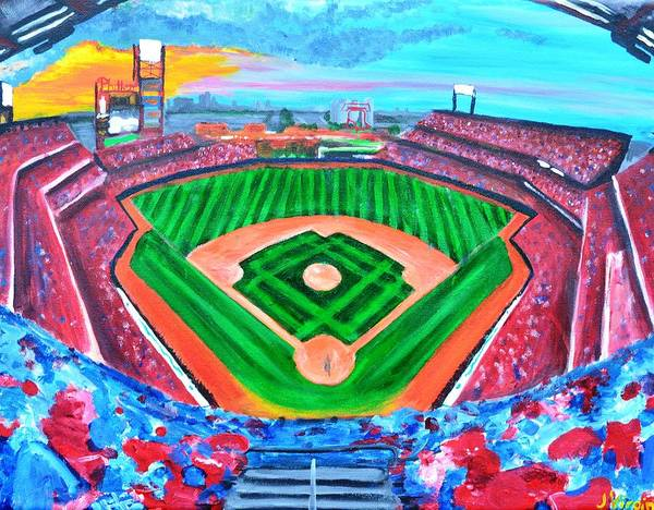 Philadelphia Phillies Ballpark Poster featuring the painting Philly Park by Jennifer Virgin