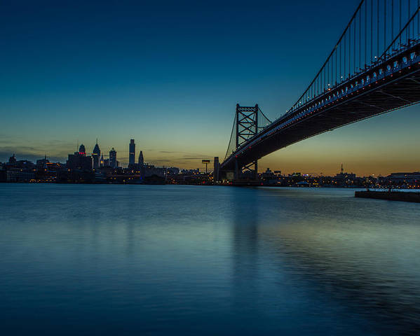 Ben Franklin Bridge Poster featuring the photograph Philly Sunset by David Hahn