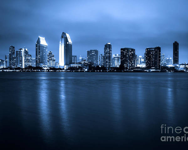 2012 Poster featuring the photograph Photo Of San Diego At Night Skyline Buildings by Paul Velgos