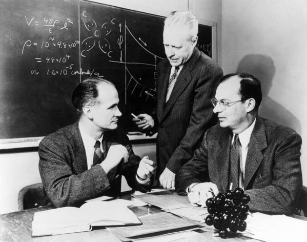 People Poster featuring the photograph Physicists Brattain, Bardeen And by Science Photo Library