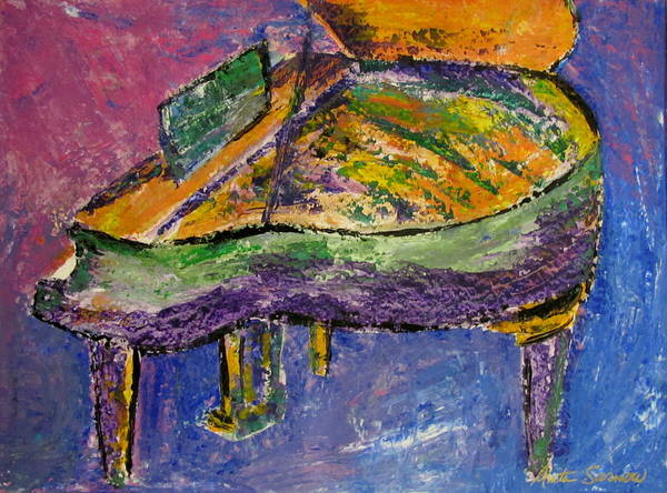 Impressionist Poster featuring the painting Piano Purple by Anita Burgermeister