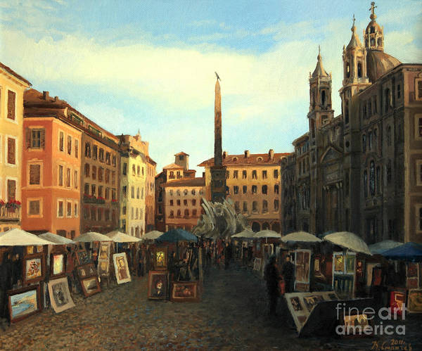 Ancient Poster featuring the painting Piazza Navona In Rome by Kiril Stanchev