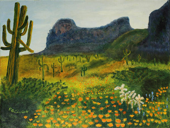 Picacho Peak Poster featuring the painting Picacho Poppies by Rich Civiok