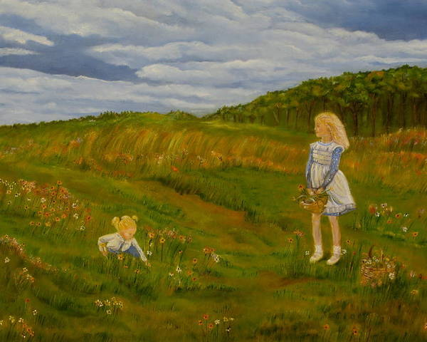 Landscape Painting Poster featuring the painting Picking Wildflowers by Laura Corebello
