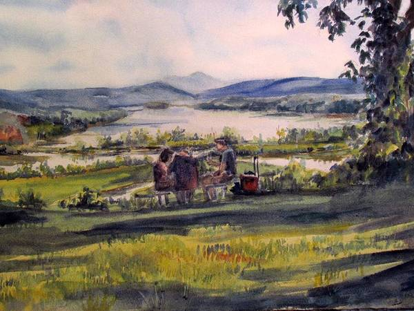 Watercolor Poster featuring the painting Picnic At Boscobel by Joyce Kanyuk