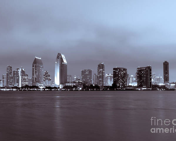 2012 Poster featuring the photograph Picture Of San Diego Skyline At Night by Paul Velgos