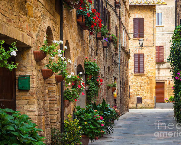 Europe Poster featuring the photograph Pienza Street by Inge Johnsson