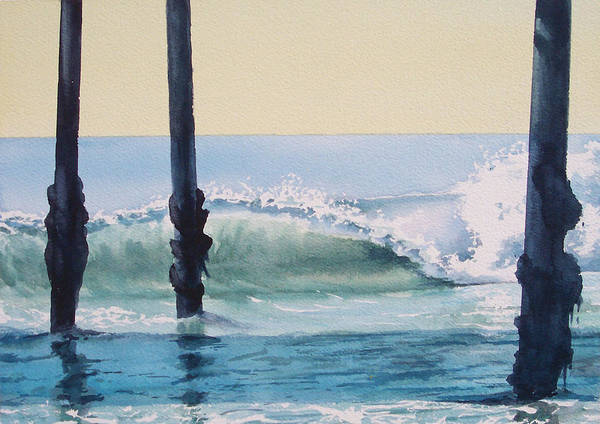 Wave Poster featuring the painting Pier Wave by Philip Fleischer