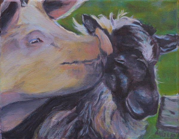 Animals Poster featuring the painting Pig Smack by Stephanie Allison