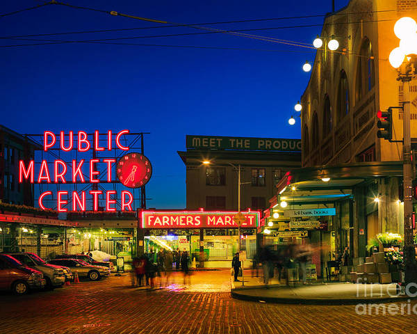 Seattle Poster featuring the photograph Pike Place Market by Inge Johnsson