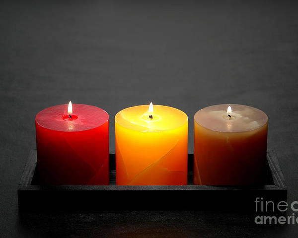 Candles Poster featuring the photograph Pillar Candles by Olivier Le Queinec