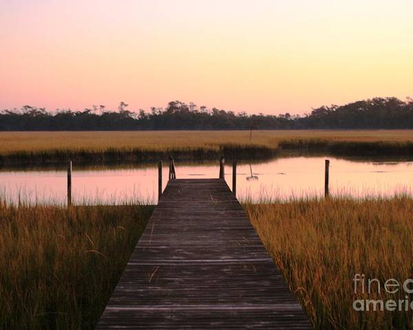 Pink Poster featuring the photograph Pink And Orange Morning On The Marsh by Nadine Rippelmeyer