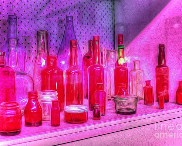 Photography Poster featuring the photograph Pink And Red Bottles by Kaye Menner
