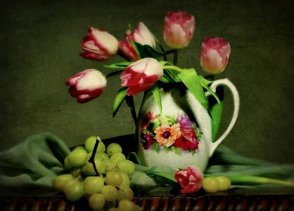 Still Life Poster featuring the photograph Pink In A Pitcher by Diana Angstadt