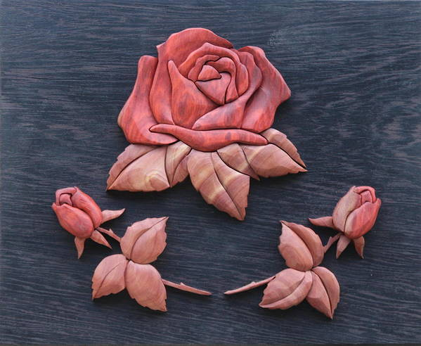 Intarsia Poster featuring the sculpture Pink My Lady Rose by Bill Fugerer