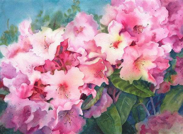 Floral Poster featuring the painting Pink Rhodies On Demand by Michele Thorp