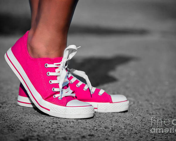 Girl Poster featuring the photograph Pink Sneakers by Michal Bednarek