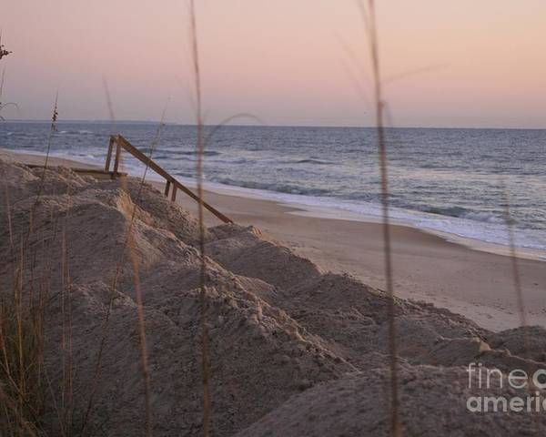 Pink Poster featuring the photograph Pink Sunrise on the Beach by Nadine Rippelmeyer