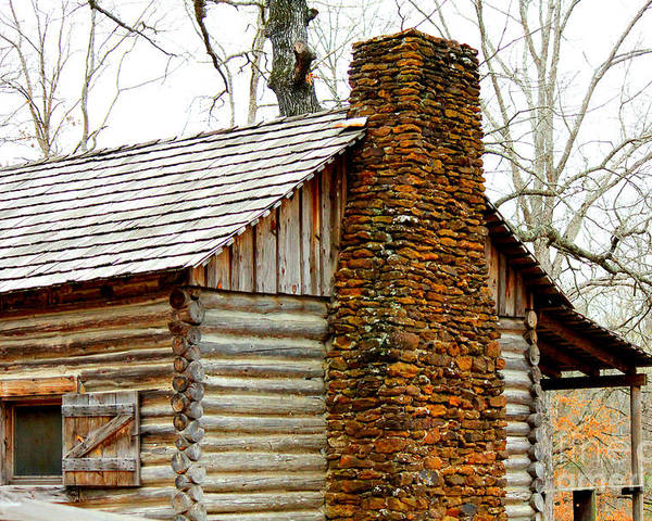 Rock Chimneys Poster featuring the photograph Pioneer Log Cabin Chimney by Kathy White