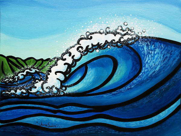 Pipeline Poster featuring the painting Pipeline Splash by Jamie Swim