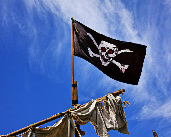 Pirate Flag Skull Banner Piracy Scull Robbers Terror Terrorist F Poster featuring the photograph Pirate Flag On Ships Mast by Garry Gay