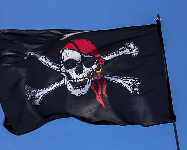 Pirate Flag Skull Banner Piracy Scull Robbers Terror Terrorist F Poster featuring the photograph Pirate Skull Flag With Red Scarf by Garry Gay
