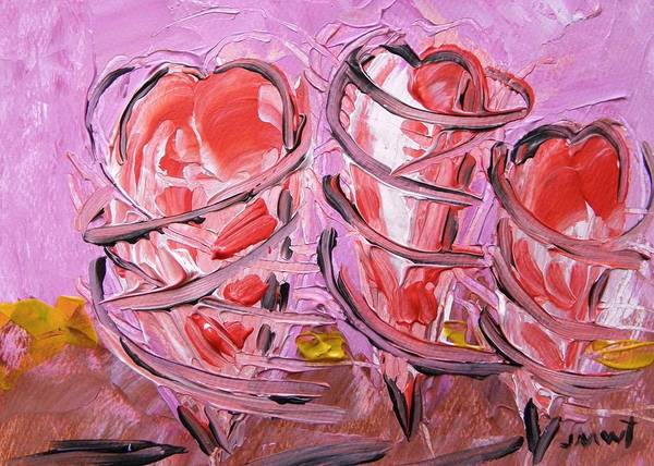 Dancing Hearts Poster featuring the painting Pirouetting Hearts-musing by John Williams