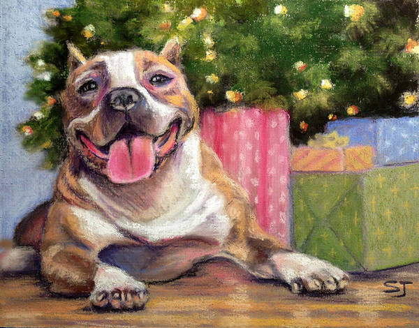 Christmas Poster featuring the pastel Pitbull Christmas by Susan Jenkins