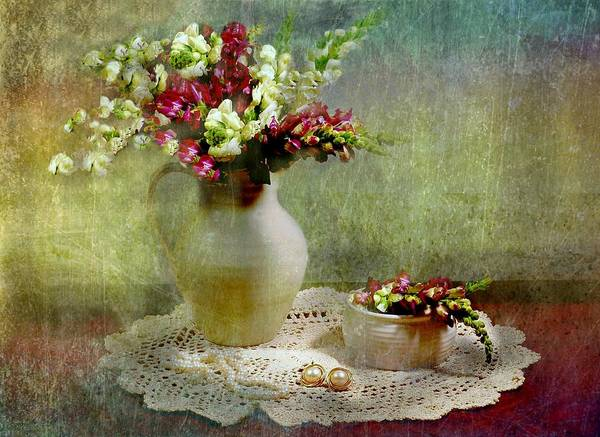 Flowers Poster featuring the photograph Pitcher Of Snapdragons by Diana Angstadt