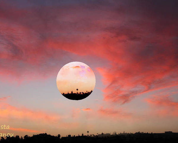 Sunset Poster featuring the digital art Planet And Sunset by Augusta Stylianou