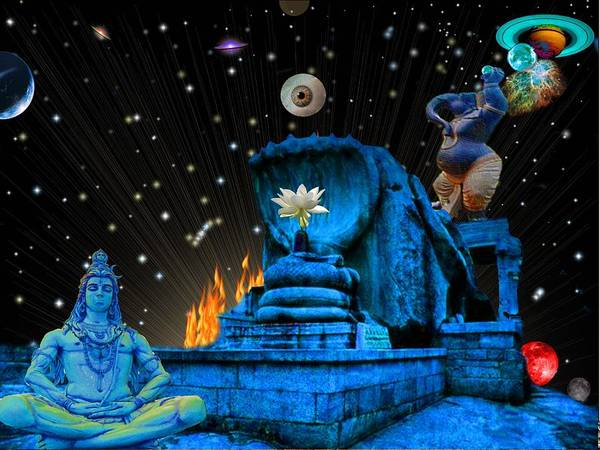 <a> Abstract Poster featuring the digital art Planet Of Shiva by Jason Saunders