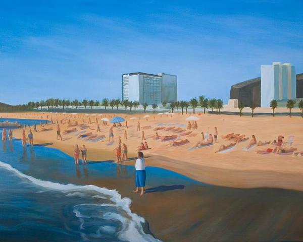 Landscape Poster featuring the painting Playa De La Barceloneta by Stephen Degan