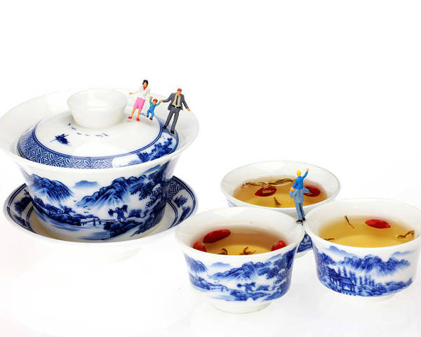 Playing Poster featuring the photograph Playing Among Blue-and-white Porcelain Little People On Food by Paul Ge
