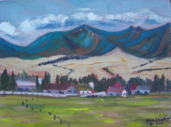 Mountain Range Poster featuring the painting Pleasant View by Alana J Hastings