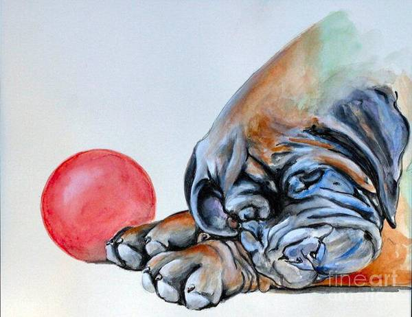 Bullmastiff Poster featuring the painting Please No More Ball by Adele Pfenninger