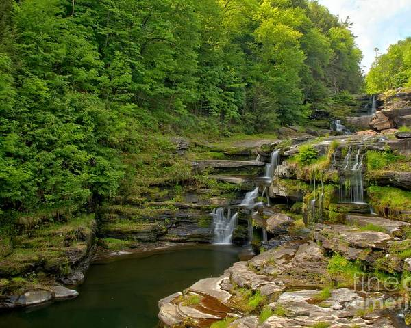 The Ledges Poster featuring the photograph Poconos Ledges Waterfall by Adam Jewell
