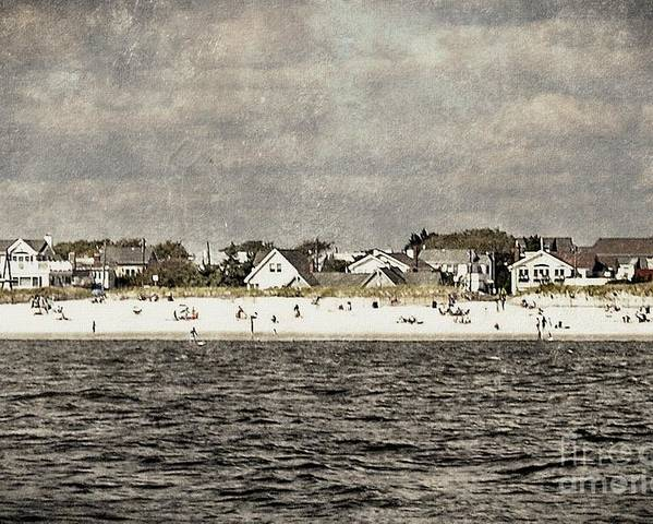 Beach Poster featuring the digital art Point Lookout Beach Vintage by Digital Designs By Dee