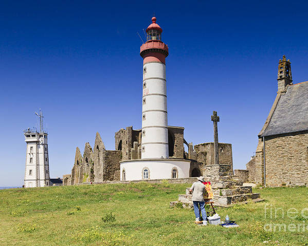 Abbey Poster featuring the photograph Pointe Saint Mathieu Brittany France by Colin and Linda McKie