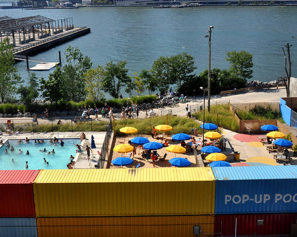 Pool Poster featuring the photograph Pop Up Pool In Brooklyn Bridge Park by Diane Lent