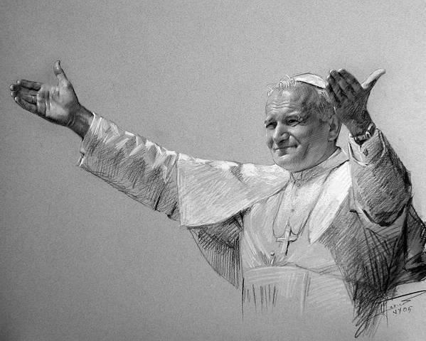 Pope John Paul Ii Poster featuring the drawing POPE JOHN PAUL II bw by Ylli Haruni