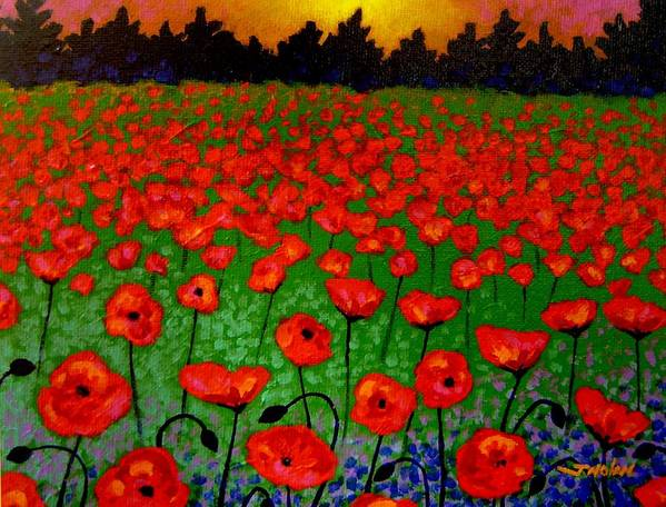Poppy Poster featuring the painting Poppy Carpet by John Nolan