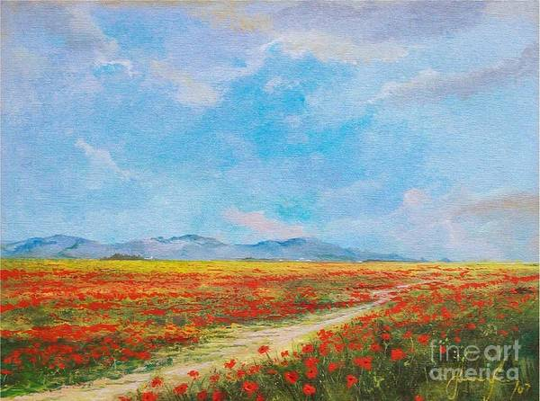 Poppy Field Poster featuring the painting Poppy Field by Sinisa Saratlic