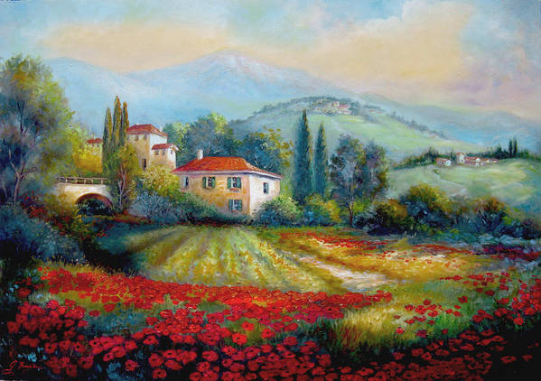 Mediterranean Landscape Poster featuring the painting Poppy Fields Of Italy by Regina Femrite
